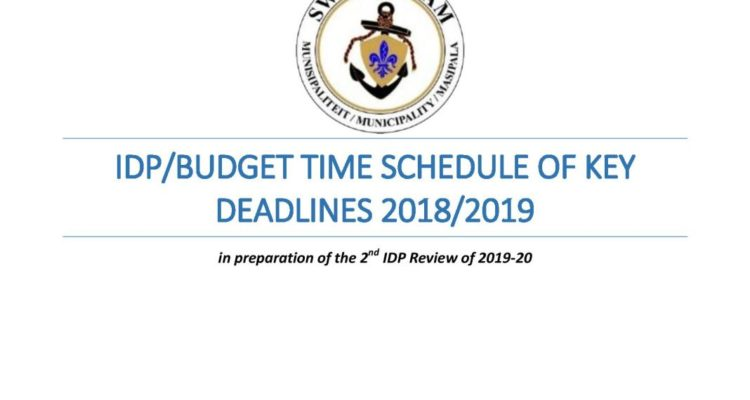 Time Schedule of Key Deadlines Process Plan for the IDP/Budget 2018 / 2019